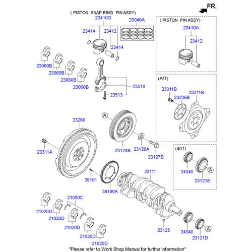 Genuine Hyundai - Part Number :230402G200 - Ring set - piston
